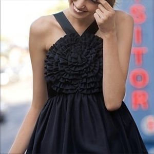 Anthropologie Burlapp Swirled Rosette Black Dress
